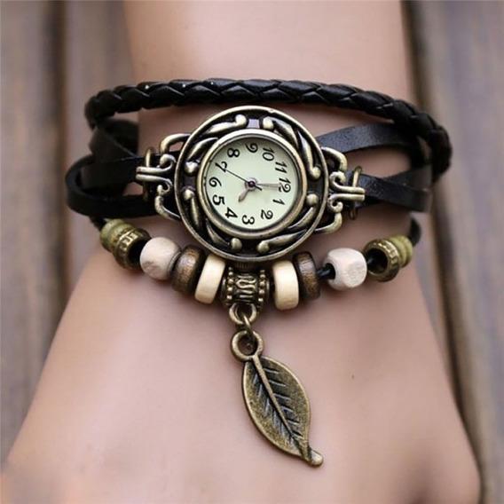 Relógio Feminino Vintage Pulseira De Couro Retrô Hippie
