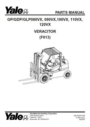 Manual Peca Empilhadeira Yale Gp/gdp/glp80-120vx(f813) Pg746