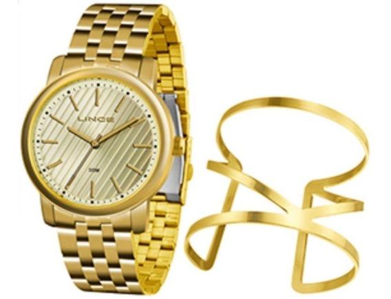 Kit Relogio Lince Bracelete Feminino Dourado Lrg4513l