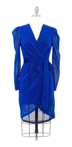 Vestido De Fiesta Corto Azul, Escote V, Manga Larga, Sexy.