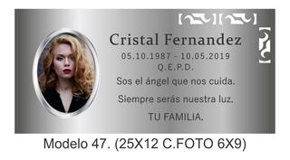 Placa Grabada Con Fotoceramica Para Cementerio 25x12.