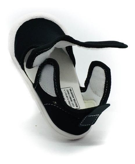 Zapatilla Sandalia Lycra Con 2 Velcros Negra Plumitas 18/23