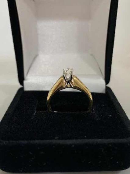 Anillo Compromiso 25pts Diamante Oro Dorado/blanco 14kt
