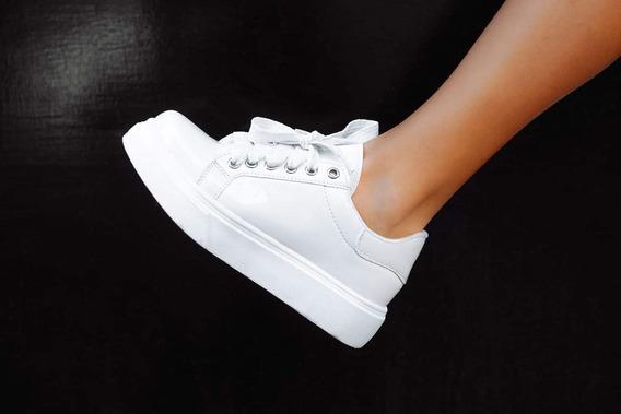 Zapatillas Blanco Blancas Charol Con Plataforma Calzado Dama