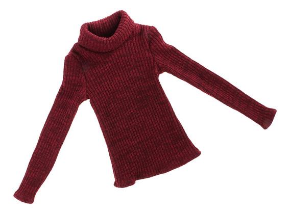 Moda Vinho Vermelho Elastic Gola Olímpica Suéter Roupa De