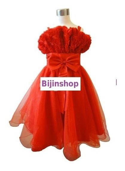 Vestido Infantil Festa Flores Vermelho Lilás Tamanho 16