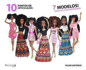 Boneca Estilo Barbie Negra Afro Articulada Black Fashionista