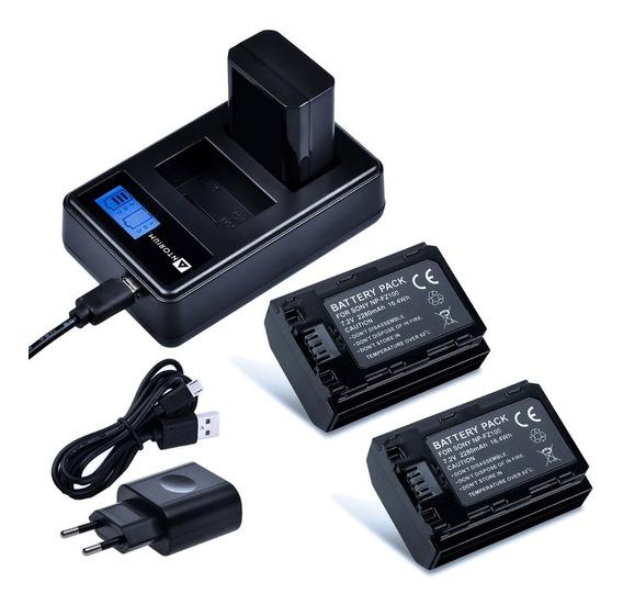 Carregador Duplo +2x Bateria Fz100 Sony A9 A7iii A7riii +nf