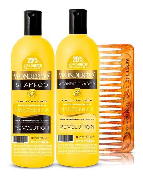 Shampoo Acondicionador Wonder Tex Revolution Manzanill Peine