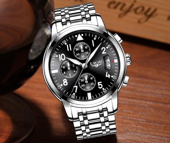 Relógio Masculino Original Lige À Prova De Agua Com Caixa