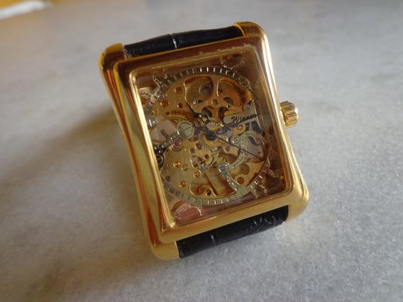 Relógio Winner, Esqueleto, Automático/corda, Dourado