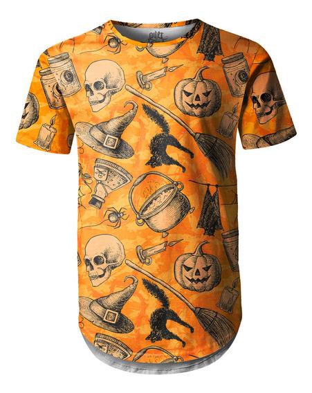 Camiseta Masculina Longline Swag Halloween Abóbora
