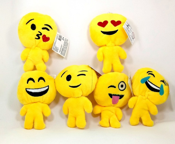 Kit Gruas Com 12 Pelucia Boneco Emoji - Com Chaveiro