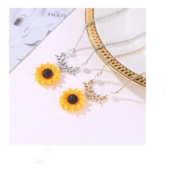 Colar Girassol Flor Delicado