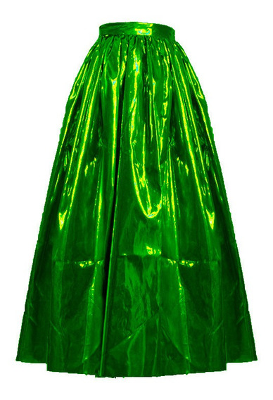 Falda - Pollera De Fiesta Amplia Color Metalizado Lame