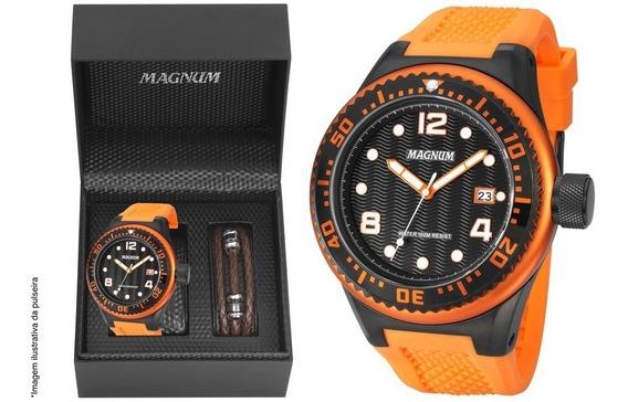Relógio Magnum Masculino Kit Pulseira Couro Ma34021c