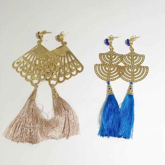 Maxi Brinco Feminino Boho Chic Tessel Oriental Kit Com 2