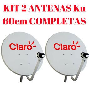 Kit 2 Antenas Ku 60cm Completas Cabo + Lnb Duplo + Conector!