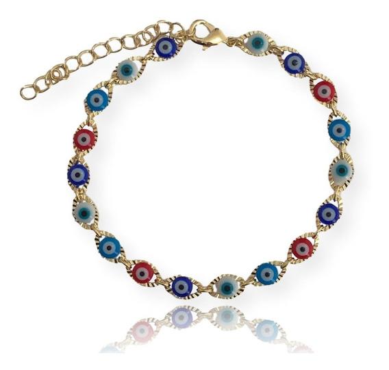 Pulseira Bracelete Feminino Olho Grego Colorida Proteção
