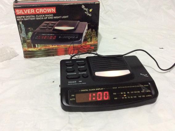 - Rádio Relógio Antigo Crown- Funciona Tudo Na Caixa - 80´s