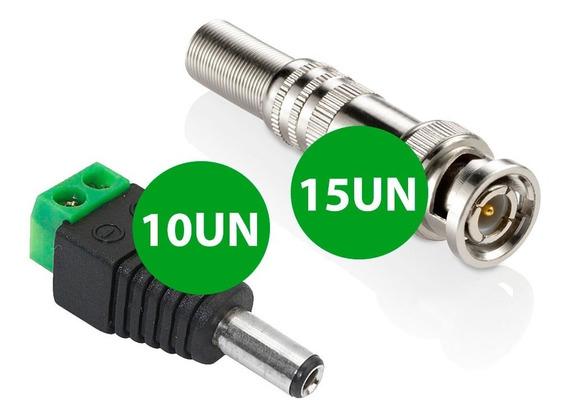 15 Plugs Bnc C/ Mola Parafuso 10 Plug P4 Com Borne Macho