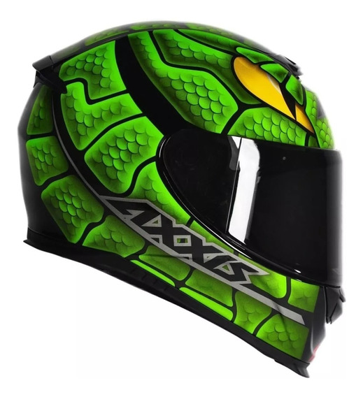 Capacete Mt Axxis Snake Verde Viseira Cristal Top