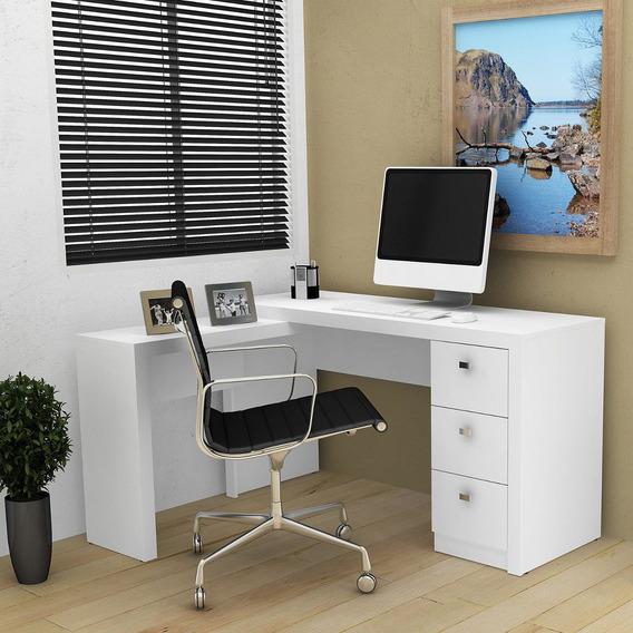 Mesa Em L Para Escritório Com 3 Gavetas Me4101 Tecno Ifwt