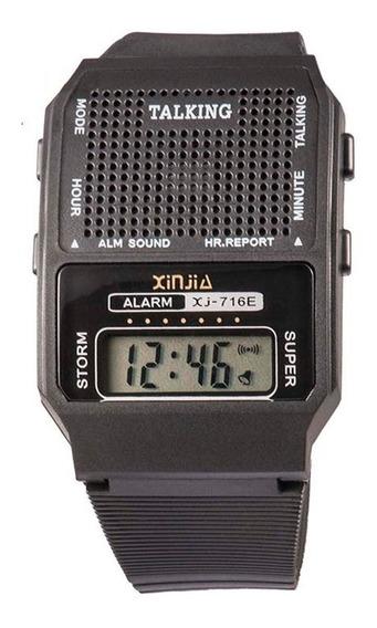 Relógio Talking Fala Hora Em Português P/deficiente Visual: