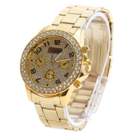 Relógio Geneva Feminino Dourado Model G45 Luxo Com Caixa