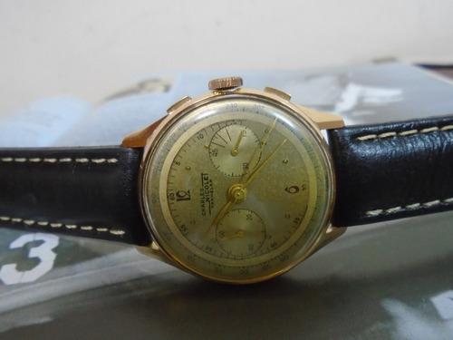 Charles Nicolet Antigo Cronografo Ouro Solido 18 K Cal L 51