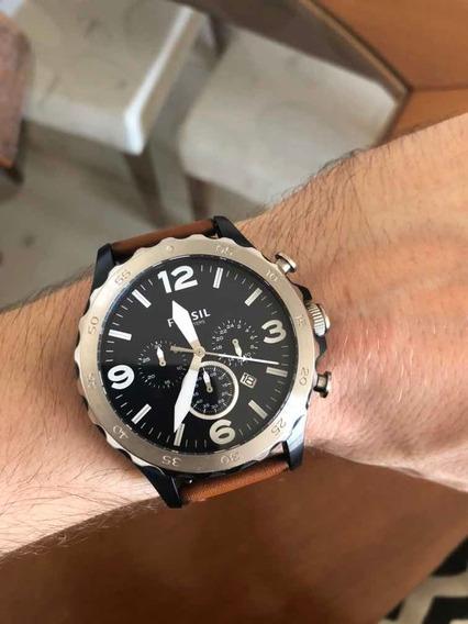 Relógio Masculino Fossil Jr1504 Pulseira Couro Marrom
