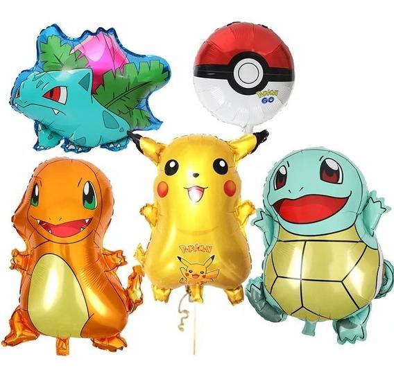 Set 5 Globos Pokemon Pikachu Charmander Pokebola Con Envio