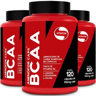 Kit 3 Aminofor Bcaa Com Vitamina B6 - Vitafor - 120 Cápsulas