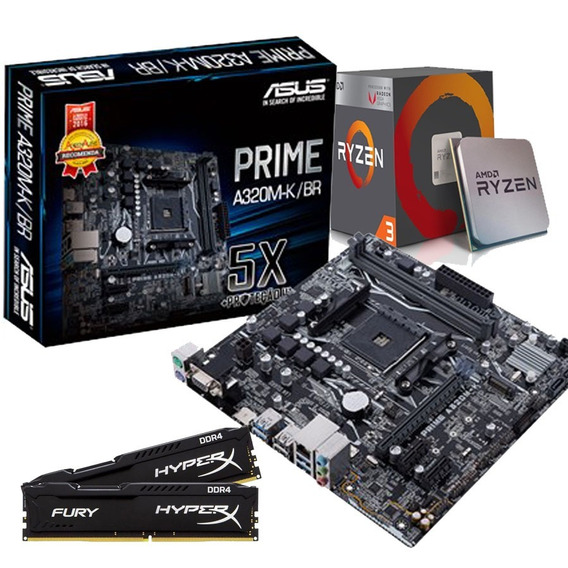 Kit Upgrade Gamer Asus Prime/ Ryzen R3 2200g/ 16g Ddr4 Hyper
