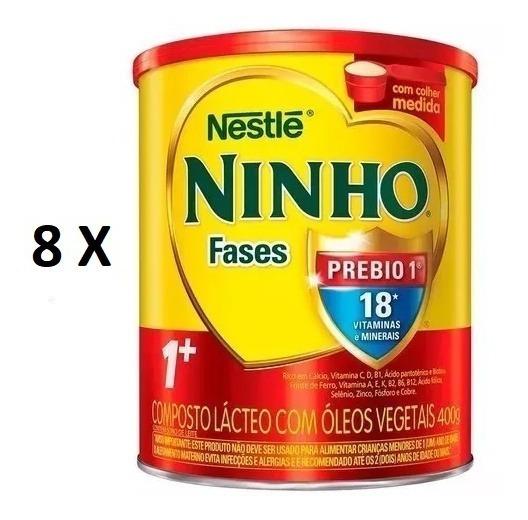 Kit 8 Latas Composto Lácteo Nestlé Ninho Fases 1+ Lata 400g
