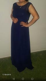 Vestido De Gala Azul/largo. Transparencia Arriba.