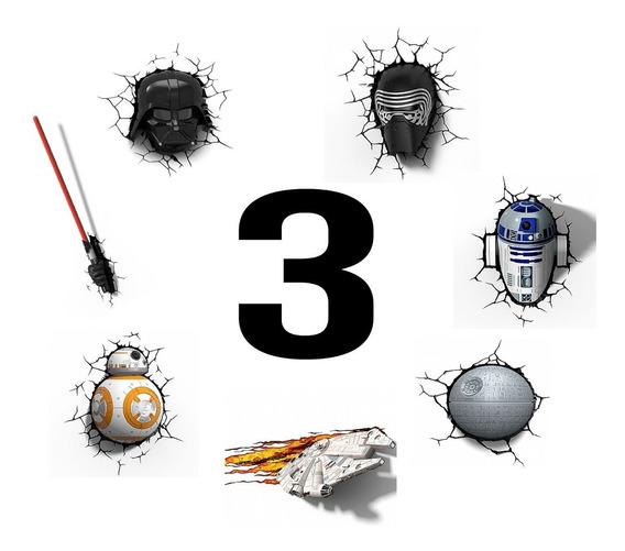 Kit 3 Luminárias Star Wars 3d - Darth, Kylo, Bb8 E Muito+