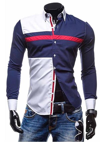 Camisa Casual Masculina Slim Fit Blusas Camisetas 470