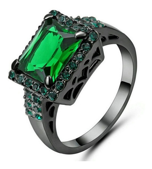 Anel Masculino Feminino Cristal Esmeralda Verde 427