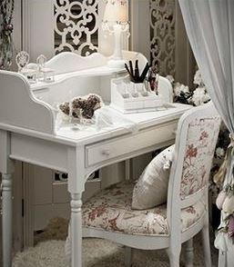 Mesa Escrivaninha Penteadeira Linda Branca Madeira Laqueada