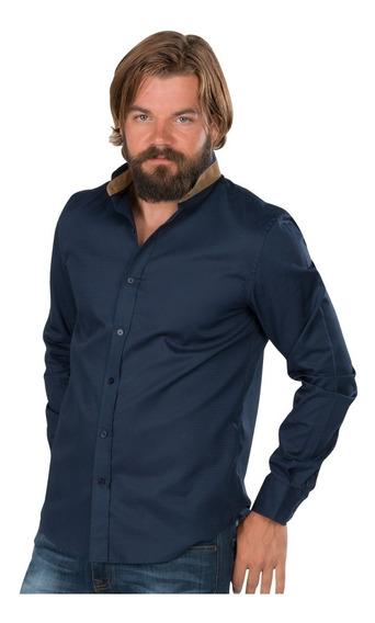 Camisa Hombre Casual Cuello Mao Moda Vestir Algodon Elegante