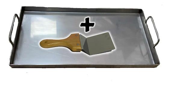 Plancha Bifera Acero Inoxidable 25x50 + Espátula Inoxidable