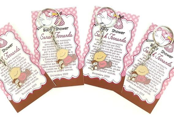 10 Llavero Baby Shower Para Recuerdo Tarjeta Personalizada