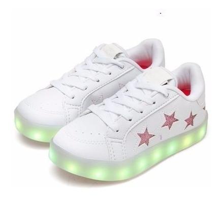 Tênis Bouts Infantil Flash Led Estrelas Branco/rosa