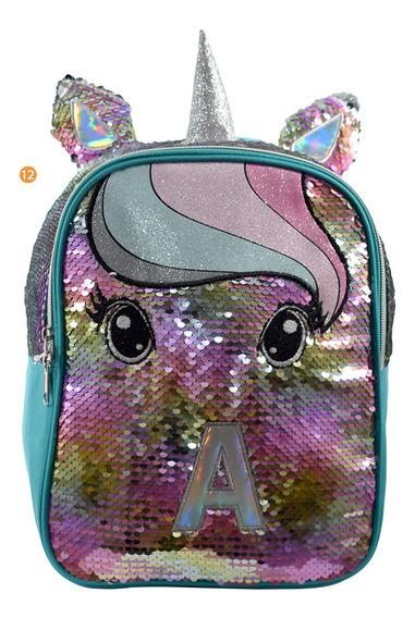 Mochila Escolar Infantil Unicornio Lentejuelas Dobles 11 Pul