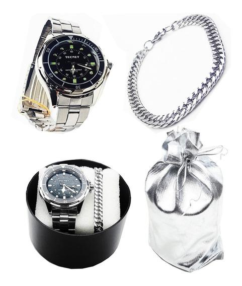 Relógio De Pulso + Pulseira Aço Prateado Masculino Lindo