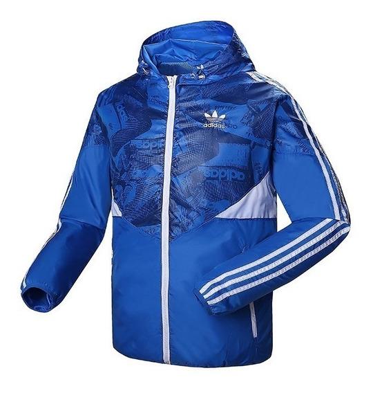 Jaqueta adidas Corta Vento Promoção P Entrega Azul Preta