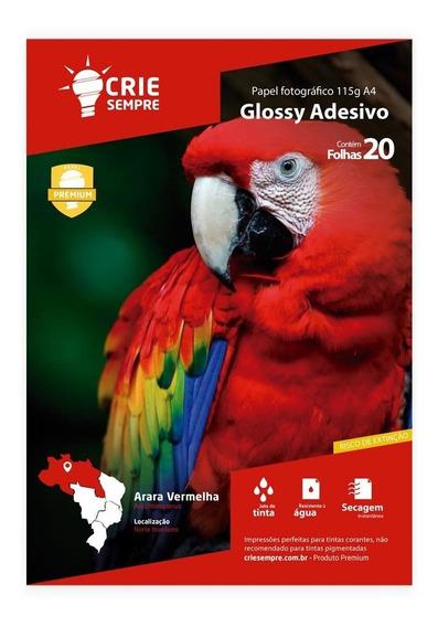 Papel Fotográfico Glossy Adesivo A4 115g 20 Folhas