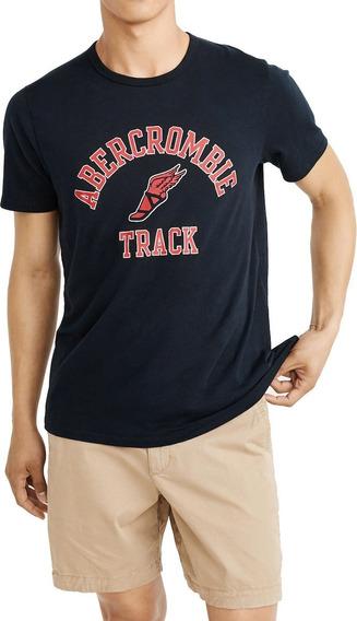 Playera Abercrombie And Fitch Azul Logo Original Hombre