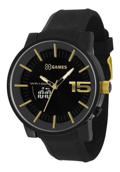 Relógio Masculino Preto E Dourado Xmspa022 P2px Grande Top